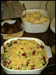 Grandmom's 'Boulder' Potato Salad, and Cold Chicken Wings, Auntie's 'Cute' Couscous