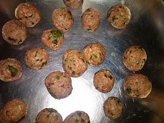 Uncooked Meatballs: ground beef, coriander, grated ginger